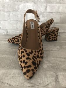 Steve Madden Dizzy NWOB Size 11 Leopard Cow Hair Slingback Pumps Pointed Toe