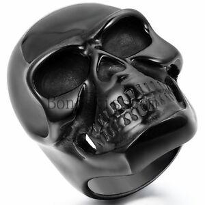 Heavy Gothic Skull Biker Stainless Steel Men's Ring High Polished Black Tone