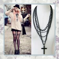 CROSS CHAIN LAYERED NECKLACE BLACK BOHO EMO GOTHIC RELIGIOUS PUNK ROCK CHAIN