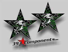 "Arctic Cat Hood Star Graphics Decal Sticker Skull Cat Universal 14"" X 14"" Green"