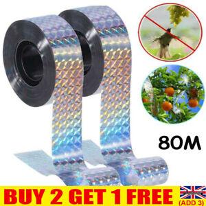 80M Bird Repellent Scare Tape Repeller Ribbon Humane Scarer Pigeons Ducks Fox UK