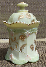 1899 Chrysanthemum Sprig (Pagoda) Lidded Sugar*Northwood Ivory Custard Glass