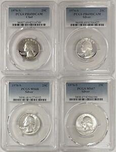 1976 S Washington Silver / Clad Quarters PCGS MS67 & 68 & PR69DCAM 4 Coin Set