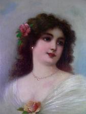 Mädchen mit Rosen - sign. J. Bouche - Gouache auf Leinwand doubliert 19. Jhd.