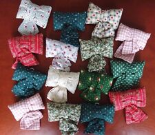 Lot 15 Calico Fabric Stuffed Bows Hand Made Christmas Tree or Gift Box Ornaments