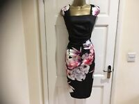 ASOS New Womens Floral Print Pleated Pencil Party Bodycon Dress Size 12