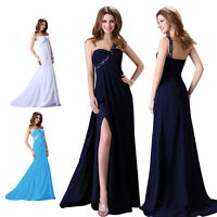 Long Split Beaded Cocktail Party Prom Gown Bridesmaid Formal Evening Grad Dress
