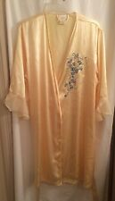 Embroidered Sexy Satin Robe by Secret Treasures size XL Yellow Floral