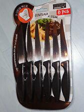 Lot de 6 x Couteaux à Steak en Acier Inoxydable Manche Noir