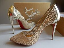 $795 Christian Louboutin Pigalle Follies Gold Metallic Lace Red Sole Pumps 37