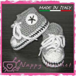 SCARPINE UNCINETTO NEONATO BABY BOOTIES CROCHET GRIGIE ALL STAR CONVERSE TENNIS