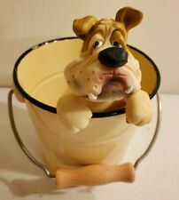 2002 Encore Bulldog Pot Sitter With Metal Pail Garden Home Decor - Very Cute!