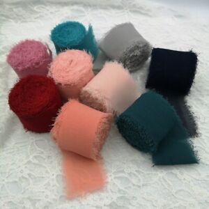 5 yards Chiffon Silk Ribbon Handmade Frayed Edges Fringe Fabric Wedding Decor