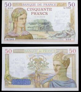 """Banque de France 50 Francs Cérès """"modifié"""", 2.12.1937 Ref : F. 18/5 VF-EF"""