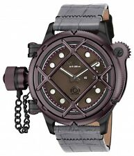 New Men's Invicta 16366 Russian Diver Swiss Mechanical Brown Dial Leather Watch