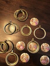 6 antique drawer pulls ceramic discs complete, brass color surrounds (see pics)