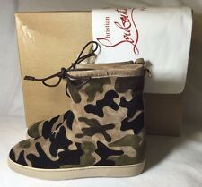 $1345 Christian Louboutin Halluolapon Camouflage Men's Boots Euro 43.5 / US 10.5
