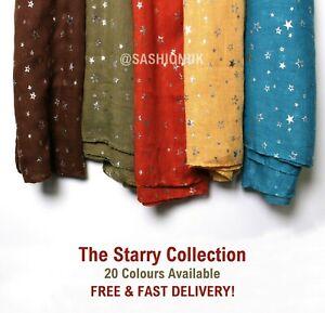 New Stars Starry Silver Foil Print Scarf Shawl Wrap Cotton Christmas Stocking