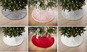 White Christmas Tree Skirt Base Faux Fur Xmas Floor Mat Ornaments Decoration