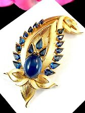 EXQUISITE 1965 CROWN TRIFARI JEWELS OF INDIA SAPPHIRE RHINESTONE JIGHA BROOCH