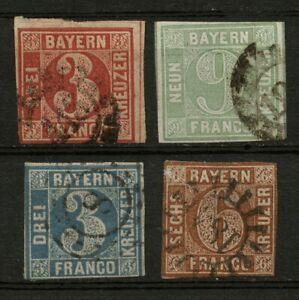 ALTES Bayern mit 3 und 6 und 9 KREUZER - vier Werte - auch für Lücken - ANSEHEN