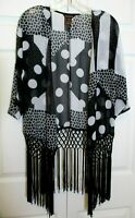 Fringed Kimono Duster sz S Sheer Black White Polka Dot Multiples