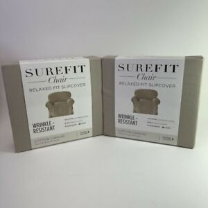 SureFit Chair Relaxed Fit Slipcover Lot of 2 Sand Wrinkle Resistant 43 to 32 New