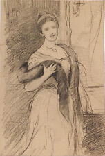 "Charles Hermans (1839-1924), ""Female Portrait"", drawing, late 19th century"