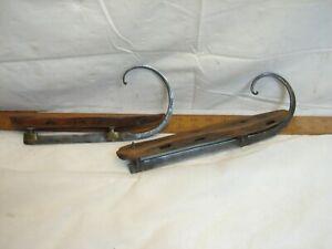 Mis-Matched Pr Antique Ornate Curled Toe Iron & Brass Ice Skates Dutch Wood Base