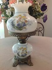 Vintage White Hurricane Lamp with Blue Yellow Gold Floral Design