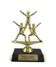 Cheerleader Trophy, 3 Figures- Female- Team- Desktop Series- Free Lettering
