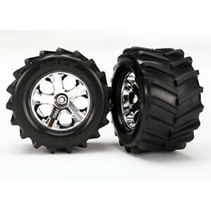 "Traxxas 6771: Tires and wheels, assembled, glued 2.8"" All-Star chrome wheels TRA"