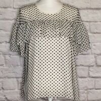 JCrew Womens 10 Silk Ivory Black Bow Print Bow Neck Short Sleeve Popover Top