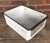 Vintage White Black Enamel Refrigerator Drawer Hydrator Vegetable Crisper