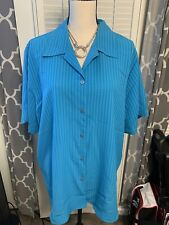 Notations Clothing Co Striped blue women's plus size 2X button down SS Blouse