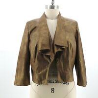 CACHE Women's Metallic Gold Open Front Blazer Jacket SZ Small