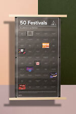 Interaktives Poster 50 Festivals to attend in a lifetime DOIY 65x35cm Musik Fest