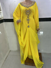 Dubái Amarillo Georgette Árabe Marroquí Caftanes Abaya Farasha Vestido Largo Ms