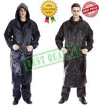 New Mens Waterproof Long Rain Coat PVC Wet Work Kagoul Jacket Fishing Mac