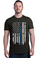 American Flag Blue Line USA T-shirt Law Enforcement Police Shirts
