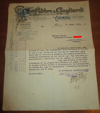 LETTERA COMMERCIALE PUBBLICITARIO AUTO ISOTTA FRASCHINI FABBRE E GAGLIARDI 1908