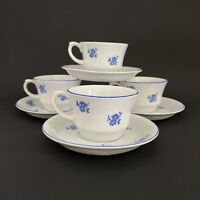 Arabia Finland White w/ Blue Flowers Cornflower Teacup & Saucer - 4 Available