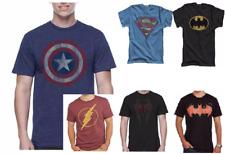New Men's Comic Logo T-Shirt Superman Spiderman Batman Flash Captain America