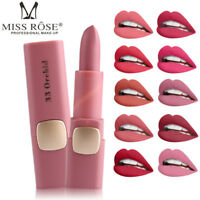 MISS ROSE Lipstick Matte Waterproof Long Lasting Lip Gloss Beauty Makeup 18Color