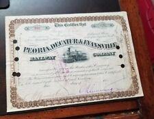 New listing 'Peoria, Decatur & Evansville Railway Company' 1880s Railroad Stock Certificate