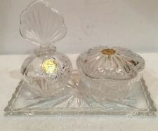 Princess House 5 Piece Vanity Set Parfume Bottle Powder Dish Tray Crystal German