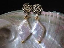 Gold Tone Rose Flower AAA Diamond Shaped Pearl Earrings Australia Seller 153