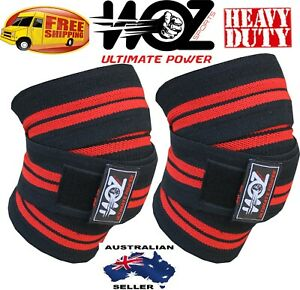 WEIGHT LIFTING KNEE WRAPS BLACK HEAVY DUTY GYM BODYBUILDING SUPPORT STRAP