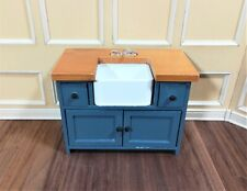 Dollhouse Miniature Kitchen Sink with Counter Top & Cabinet 1:12 Scale Blue