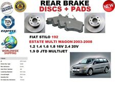 FOR FIAT STILO 192 ESTATE MULTI WAGON 03-08 REAR BRAKE DISCS SET + BRAKE PAD KIT